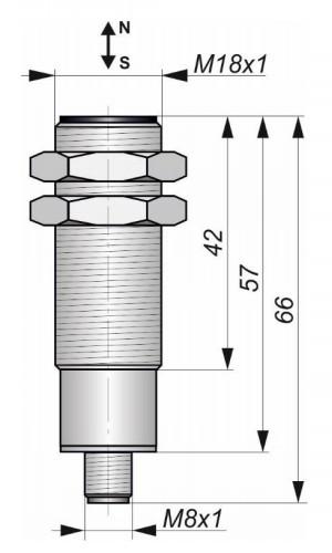 Габаритный чертёж датчика Г13-NONO-GDC-P8-ПГ(Л63)
